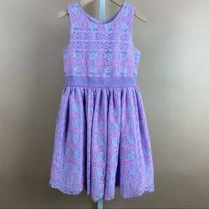 Girls Pleat Tulle Pastel Floral Dress Size 8